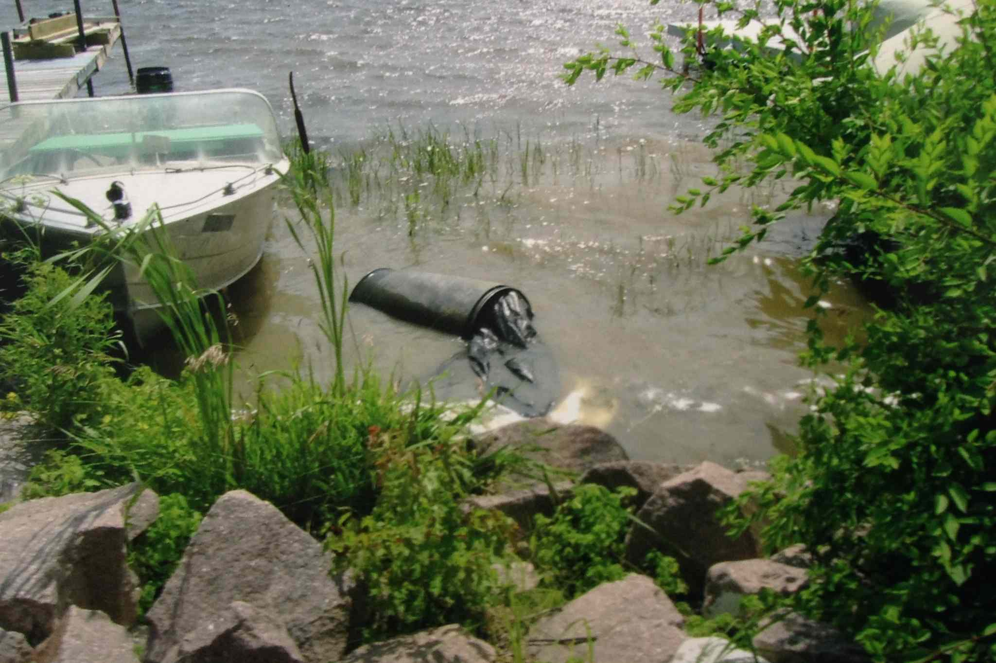 The barrel discovery scene as RCMP found it on the Lee River on July 23, 2008.