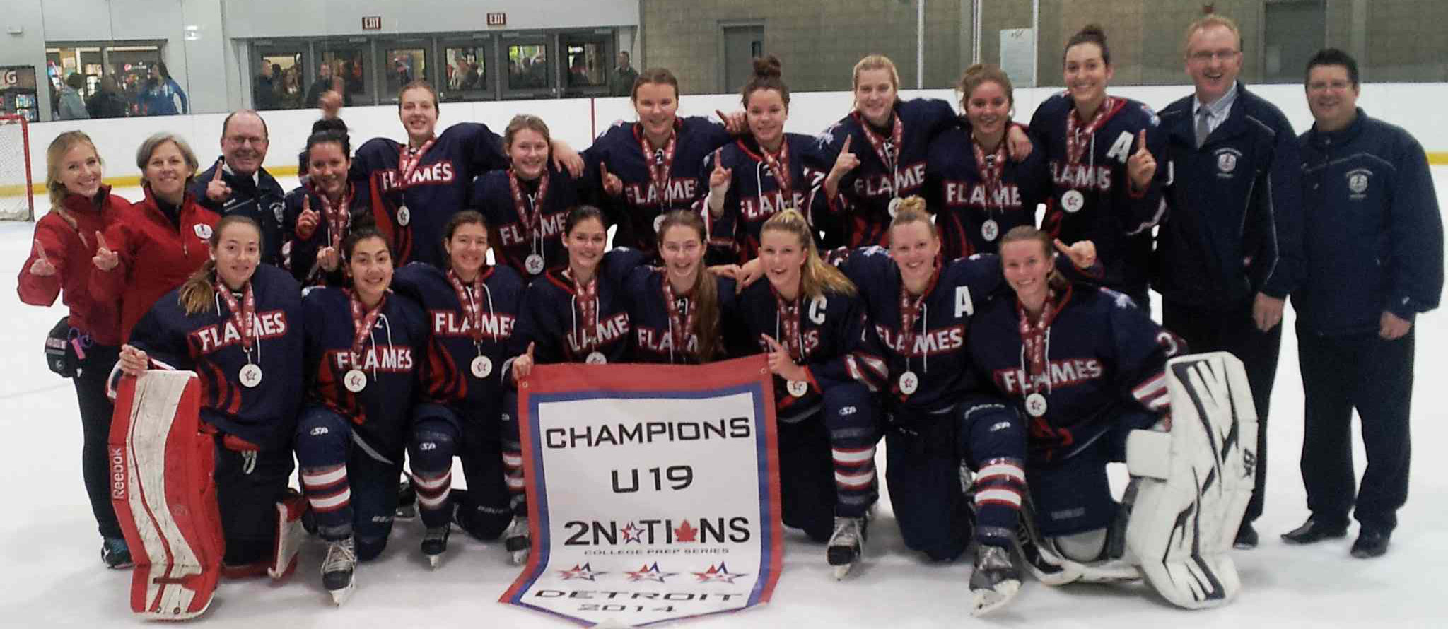 The St. Mary's Academy Flames girls hockey team