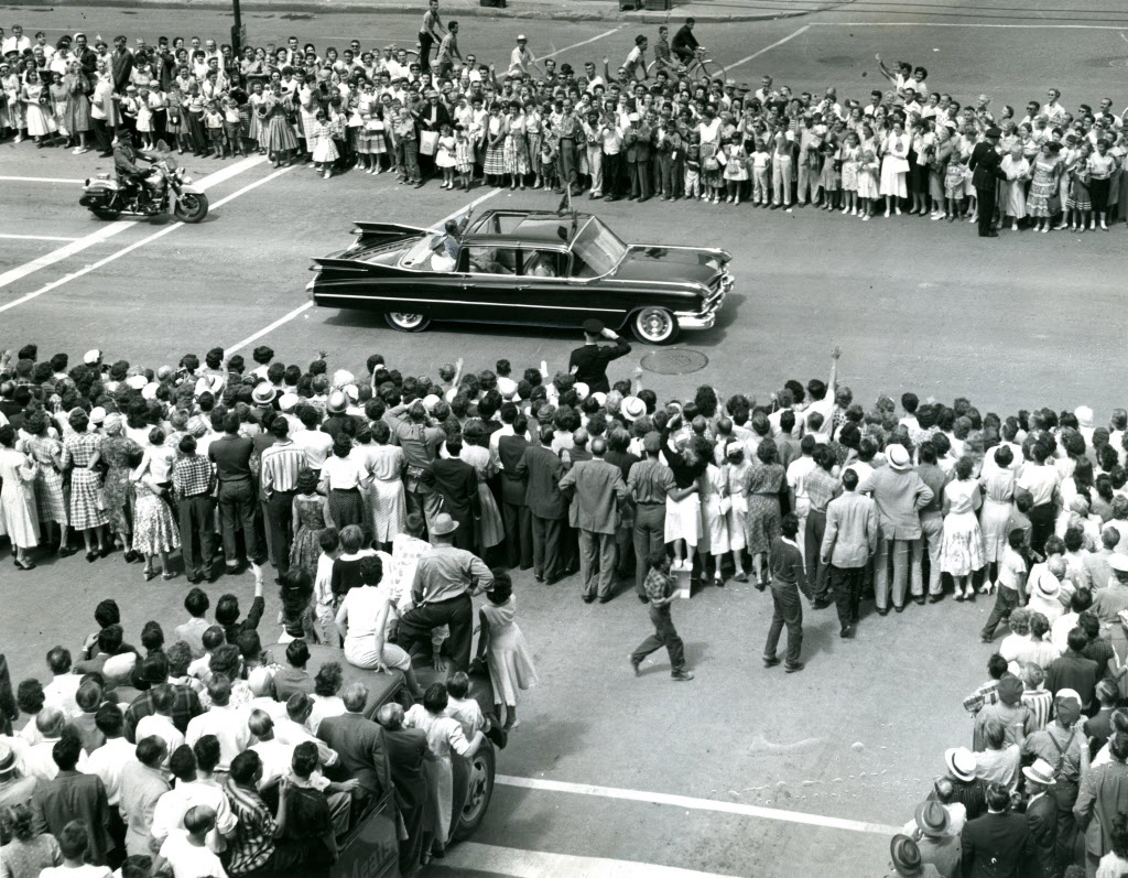 Queen Elizabeth and Prince Philip at the intersection of Portage Avenue and Hargrave Street during their Royal visit in 1959.
