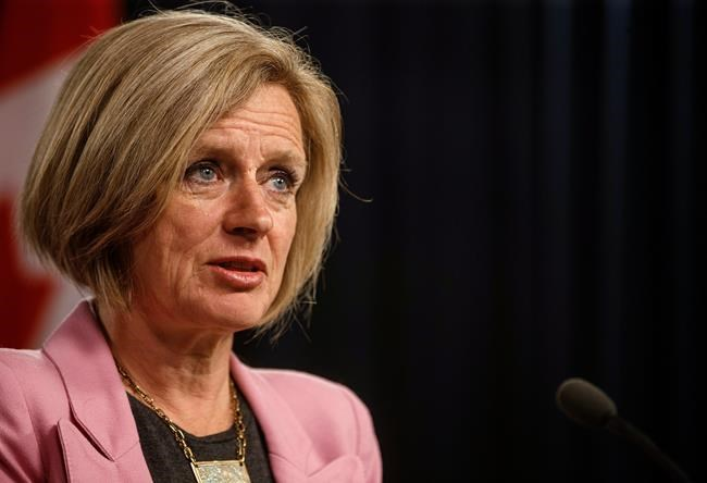 Alberta Premier Rachel Notley updates reporters on the progress of the Kinder Morgan pipeline in Edmonton on Wednesday, May 16, 2018.THE CANADIAN PRESS/Jason Franson