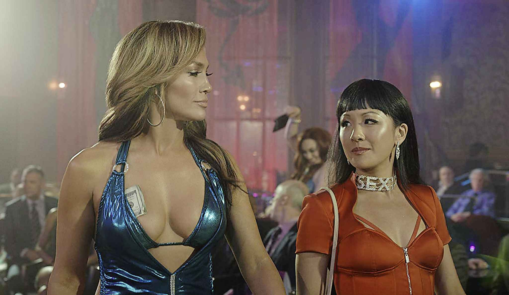 "Jennifer Lopez (left) and Constance Wu in ""Hustlers."" (STXfilms/IMDb/TNS)"