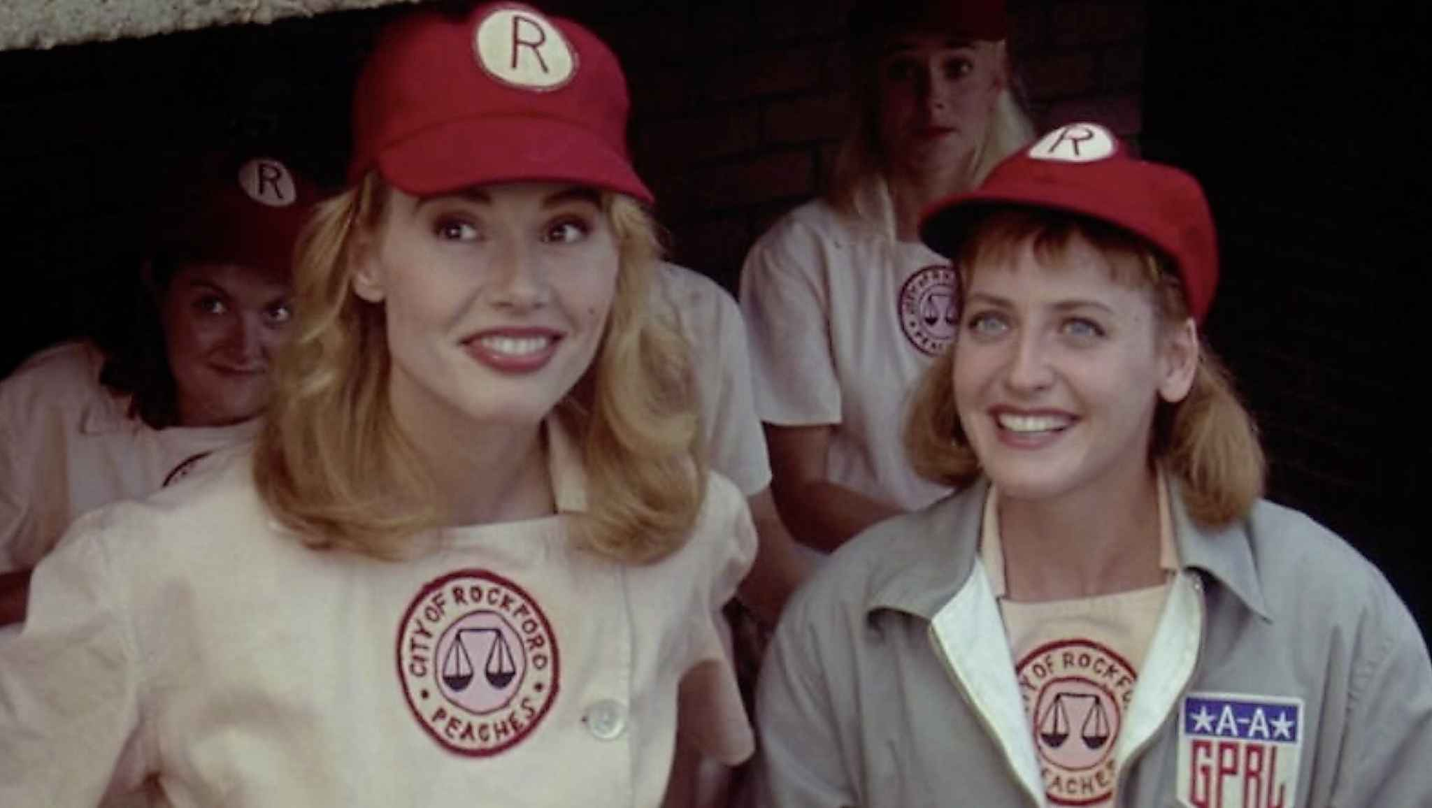 Geena Davis, Lori Petty, Megan Cavanagh, and Freddie Simpson in A League of Their Own. (Columbia Pictures Corporation/TNS)