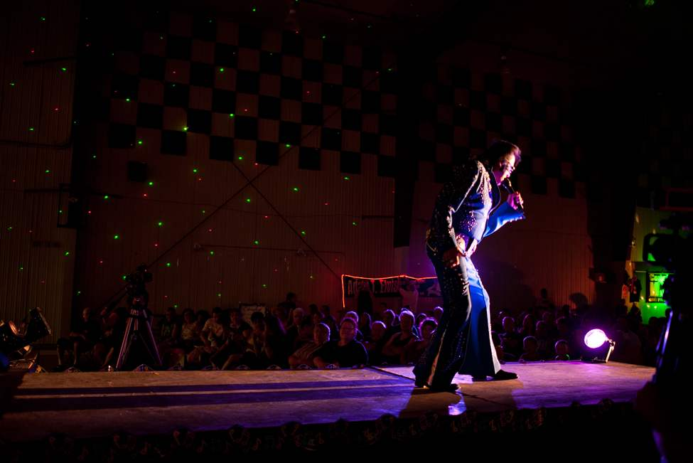 "Gerry ""the Big Bear"" Barret performs as Elvis at the 11th annual Elvis Fest in Gimli, Manitoba. Elvis impersonators performed for a full Gimli recreation centre. COLE BREILAND / WINNIPEG FREE PRESS"
