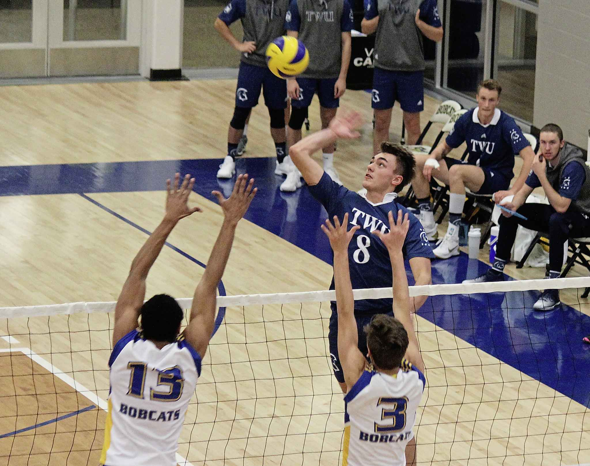 Loeppky goes for a spike in match against the Brandon University Bobcats. The six-foot-five outside hitter was the only player in Canada West this year with a hitting percentage above .400.