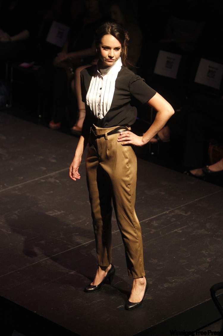 Clothing designed by Jasmine Lozenski at the MC College Fashion Design and Apparel Production Diploma Program Fashion Show at the Canwest Centre for Theatre and Film at the University of Winnipeg. (TREVOR HAGAN / WINNIPEG FREE PRESS)