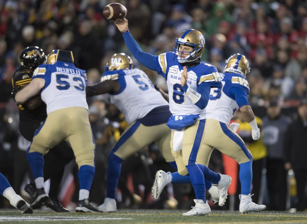 Bombers fans will have to wait a little longer to see quarterback Zach Collaros play more than a handful of games for the team. (Nathan Denette / The Canadian Press files)