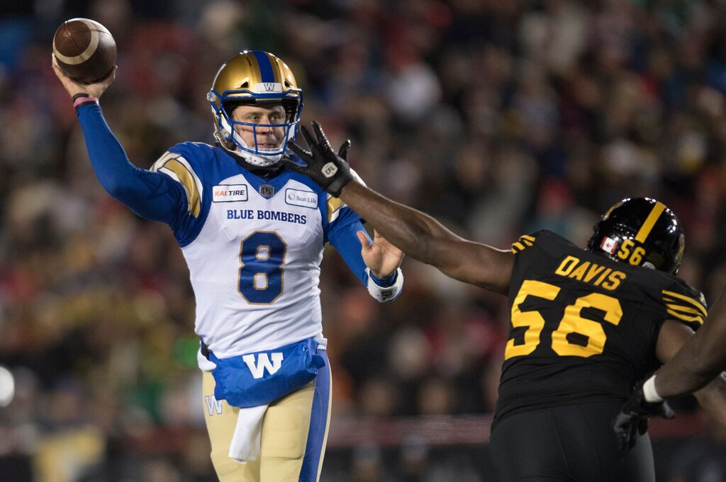 Blue Bombers quarterback Zach Collaros will be back this season and has one shot of the vaccine so far. (Nathan Denette / The Canadian Press files)