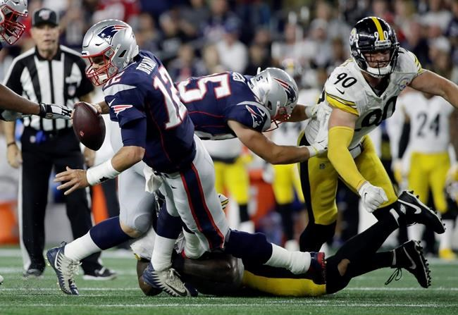 Pittsburgh Steelers outside linebacker Bud Dupree sacks New England Patriots quarterback Tom Brady, left, in the second half an NFL football game, Sunday, Sept. 8, 2019, in Foxborough, Mass. (AP Photo/Elise Amendola)