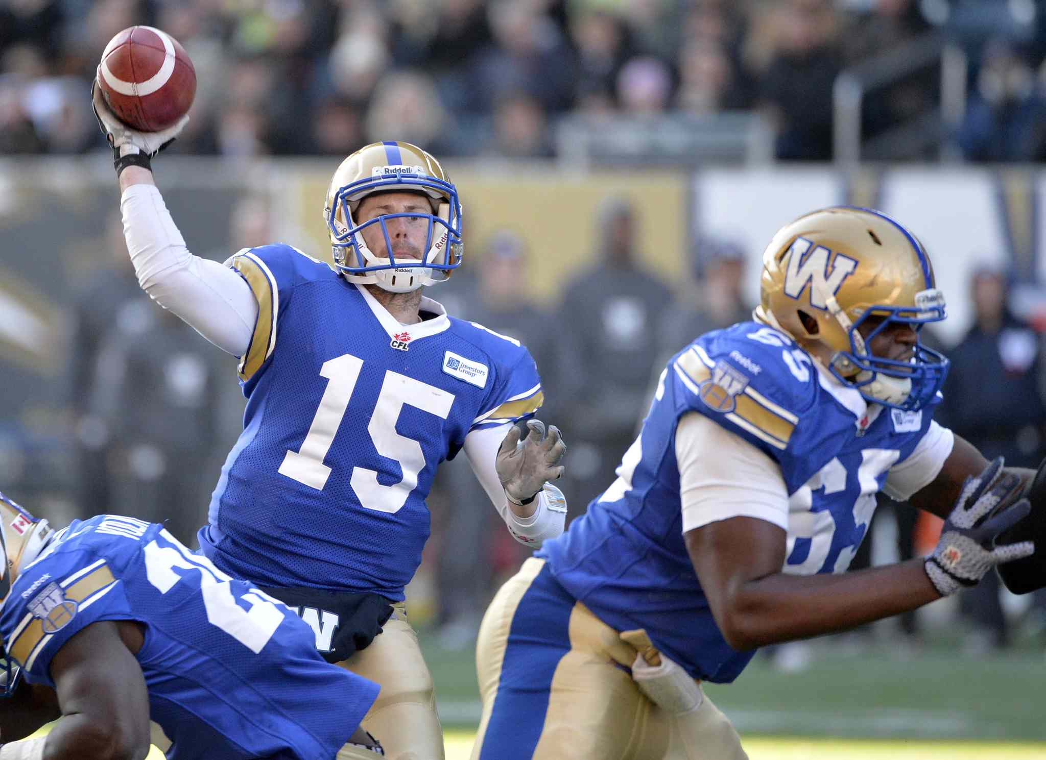 Winnipeg Blue Bombers quarterback Max Hall (15) makes a pass against the Hamilton Tiger-Cats during the second half.