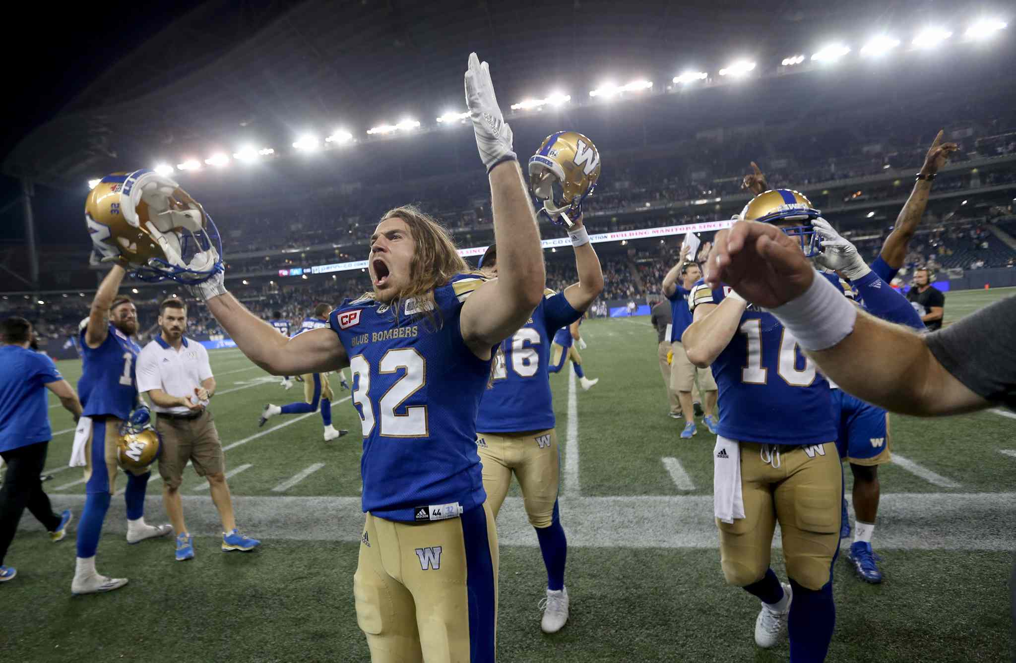 The Winnipeg Blue Bombers celebrate a dramatic come from behind victory over the Montreal Alouettes during CFL football action in Winnipeg on Thursday, July 27, 2017.