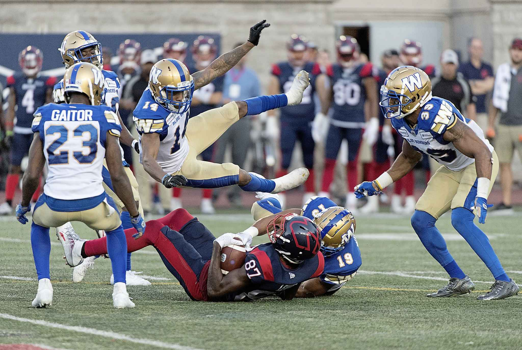GRAHAM HUGHES / THE CANADIAN PRESS</p><p>Winnipeg Blue Bombers defensive back Marcus Sayles (14) avoids a collision between linebacker Kyrie Wilson (19) and Montreal Alouettes wide receiver Eugene Lewis (87) during second half CFL football action in Montreal, Saturday, September 21, 2019.</p>