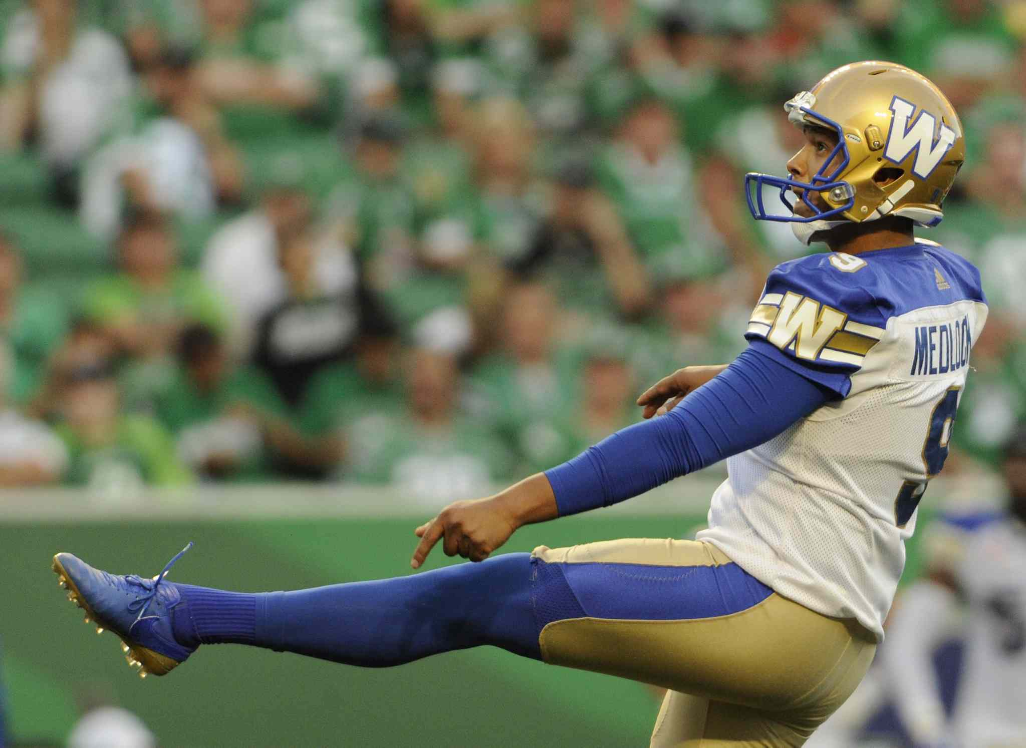 Winnipeg Blue Bombers kicker Justin Medlock boots a field goal during first half CFL action at the brand new Mosaic Stadium against the Saskatchewan Roughriders, in Regina on Saturday, July 1, 2017.