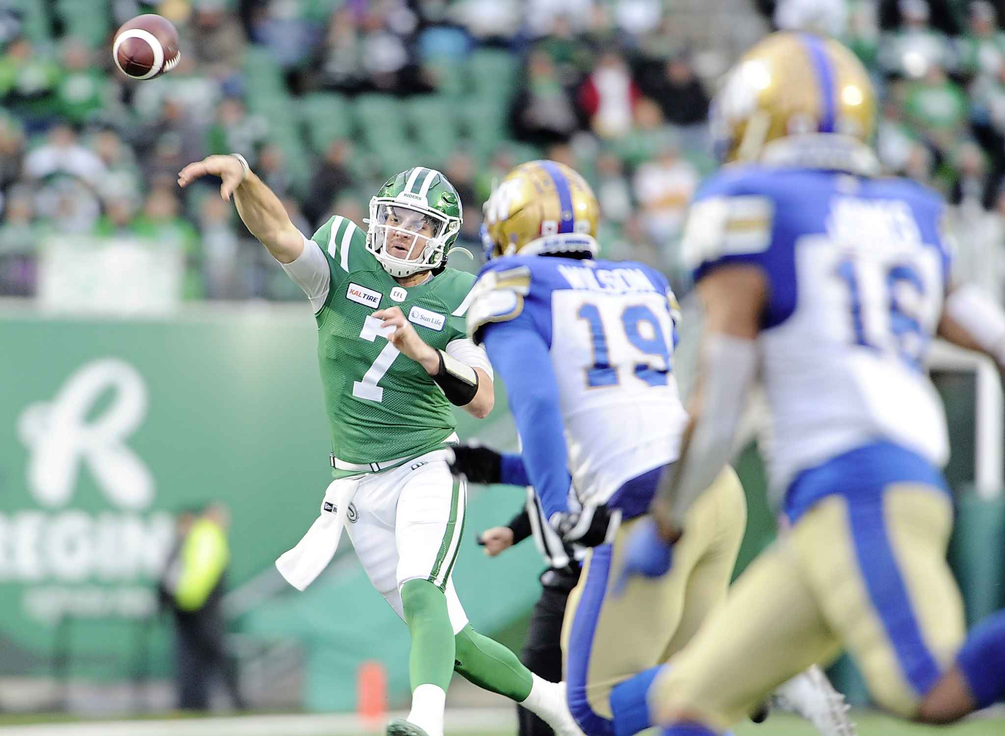 MARK TAYLOR / THE CANADIAN PRESS</p><p>Saskatchewan Roughriders quarterback Cody Fajardo attempts a pass on the run against the Winnipeg Blue Bombers during first half action.</p>