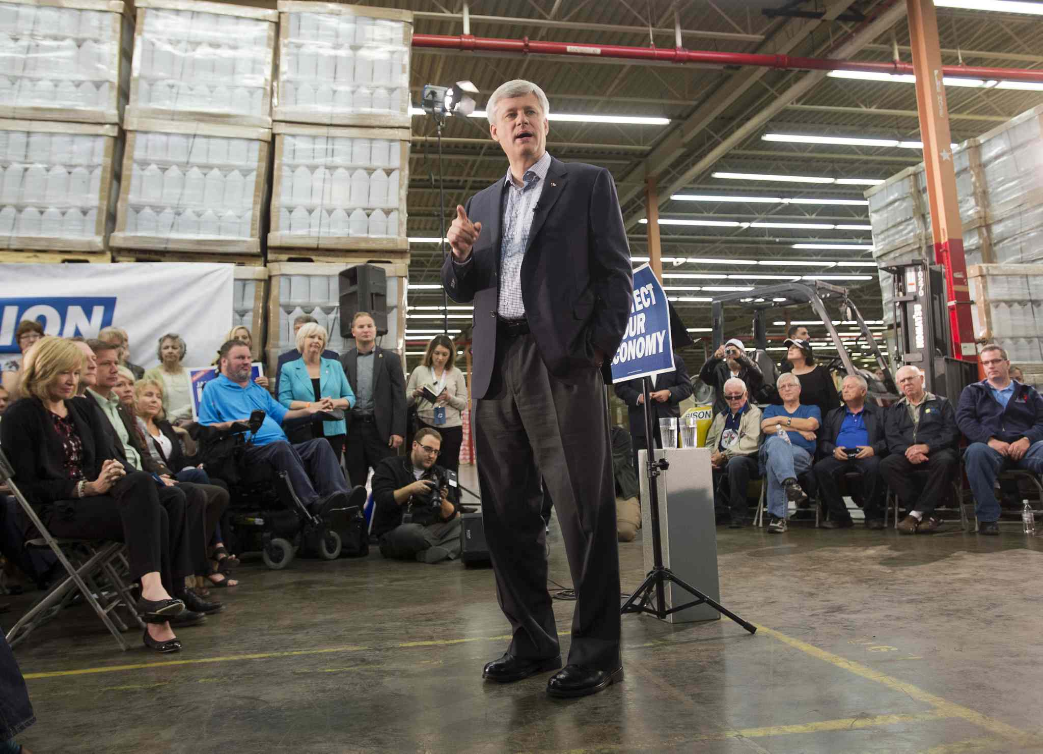 Prime Minister Stephen Harper speaks to supporters while in Winnipeg Tuesday.