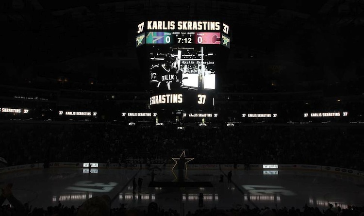 The Dallas Stars remember the life of former NHL player Karlis Skrastins before a game against the Calgary Flames in Dallas, Saturday, March 24, 2012. The Latvian-born Skrastins was a member of the Lokomotiv Yaroslavl team when the their plane crashed in September 2011. The Stars wore No. 37 patches on their uniforms in honour of Skrastins, who played two full seasons in Dallas.