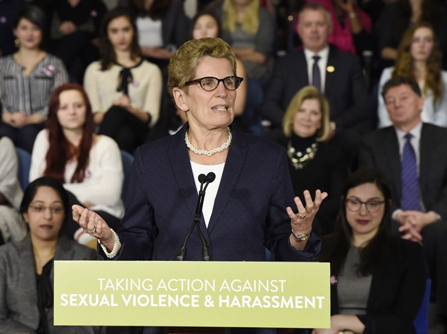 Ontario Premier Kathleen Wynne announces Ontario's Sexual Violence and Harassment Action Plan at a press conference in Toronto on Friday, March 6, 2015. THE CANADIAN PRESS/Frank Gunn
