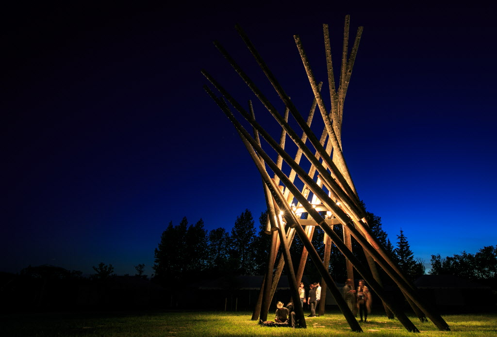 The Village Tower on the opening night of Winnipeg Folk Fest 2014 at Birds Hill Park.