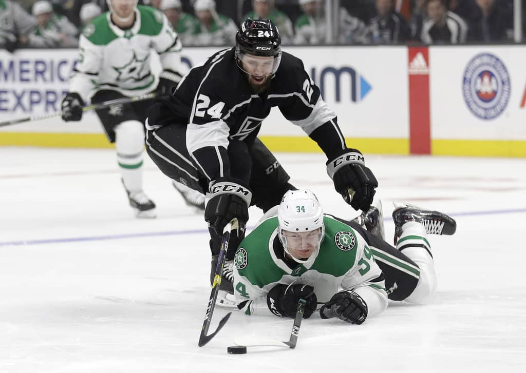 Derek Forbort, pictured with the Los Angeles Kings in 2019, does have a talent for thwarting opponents offensive chances off the rush.