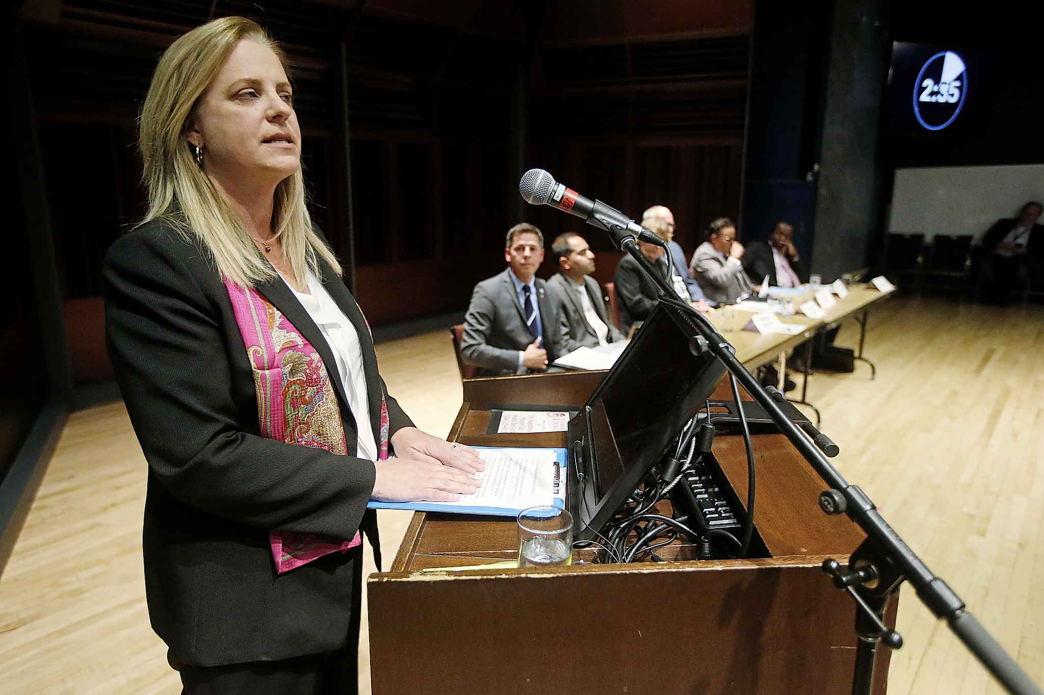Mayoral candidate Jennifer Motkaluk speaks during the forum at the University of Winnipeg, Tuesday.