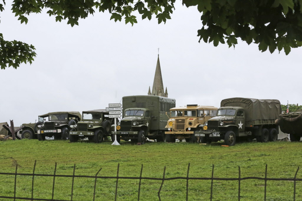 A camp with WWII vehicles is set up in Vierville sur Mer, near Omaha Beach, France, as part of the commemoration of the 70th D-Day anniversary.