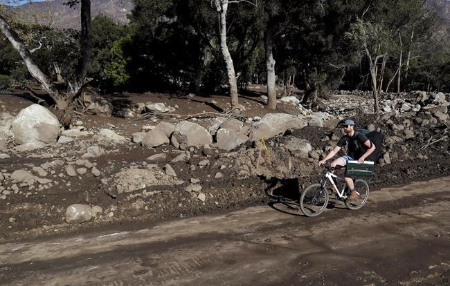 A man rides a bicycle down a road damaged from storms in Montecito, Calif., Friday, Jan. 12, 2018. The mudslide, touched off by heavy rain, took many homeowners by surprise early Tuesday, despite warnings issued days in advance that mudslides were possible because recent wildfires had stripped hillsides of vegetation that normally holds soil in place. (AP Photo/Marcio Jose Sanchez)