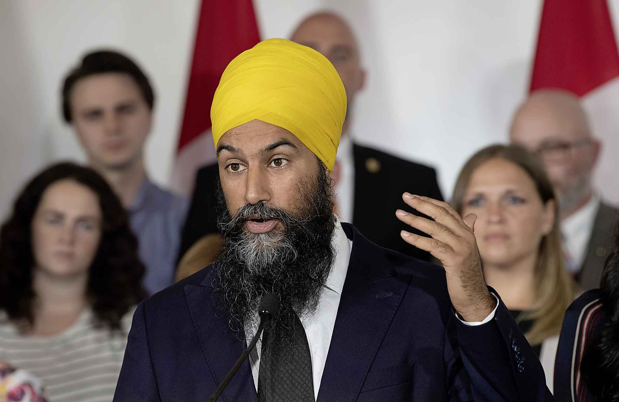 ADRIAN WYLD / TE CANADIAN PRESS</p><p>NDP leader Jagmeet Singh speaks during a campaign stop in London, Ontario on Wednesday September 11, 2019.</p>