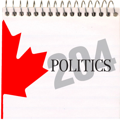 Politics 204 with pickture of Maple Leaf.