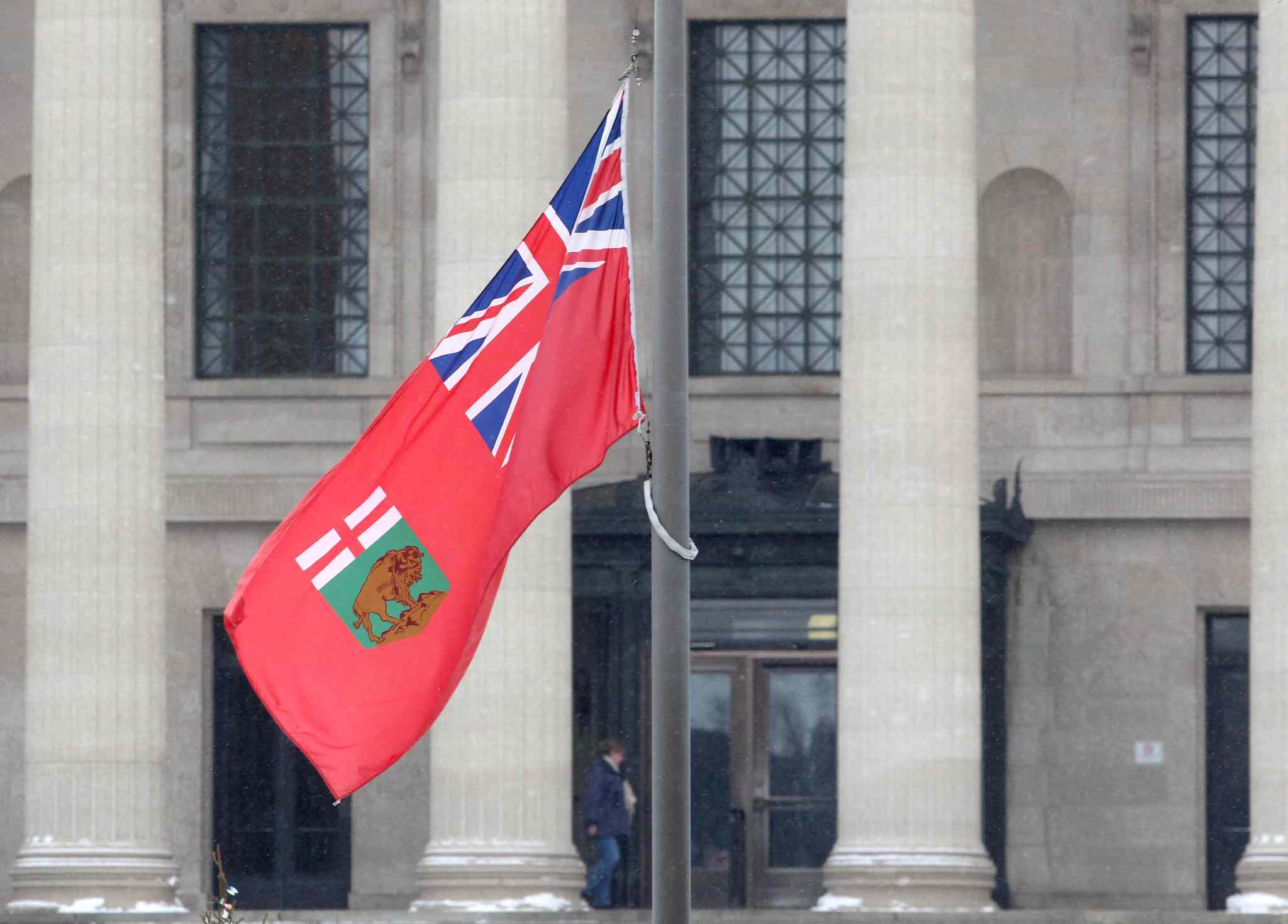 Flags are at half-mast at the Manitoba Legislature Thursday to honour former Premier Howard Pawley who died at the age of 81.