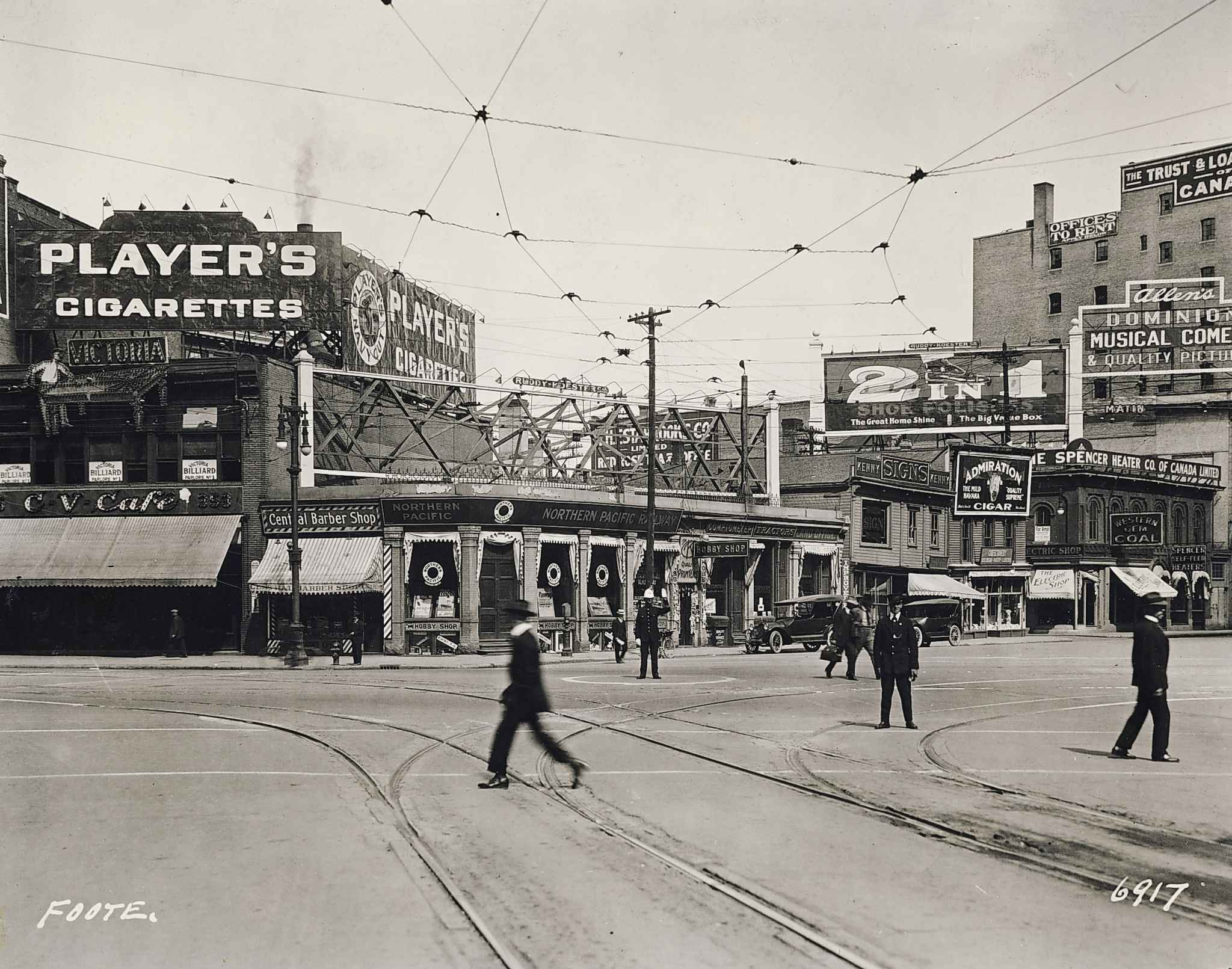 The northeast corner of Portage and Main in 1920. (L. B. Foote / Winnipeg Free Press Archives)