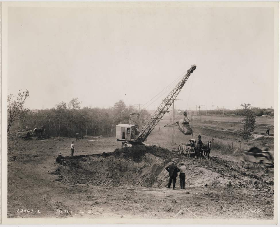 Construction begins at a steam plant in the North End of Winnipeg, June 2, 1931. Winnipeg Free Press Archives