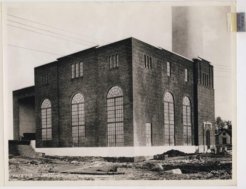 The completed exterior of a steam plant in the North End of Winnipeg, September 26, 1931.