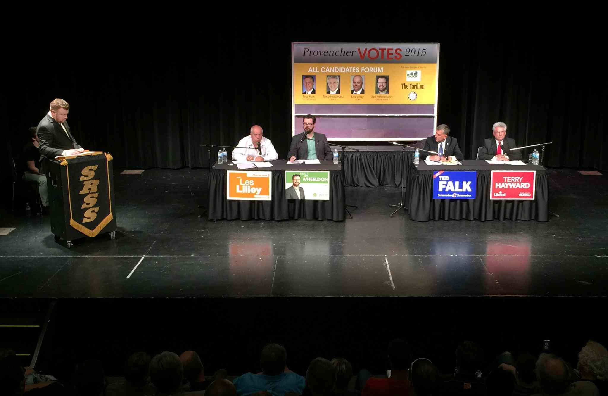 From left: NDP candidate Les Lilley, Jeff Wheeldon of the Green Party, Conservative candidate Ted Falk and Liberal candidate Terry Hayward, at the Provencher all-candidates forum Thursday evening.