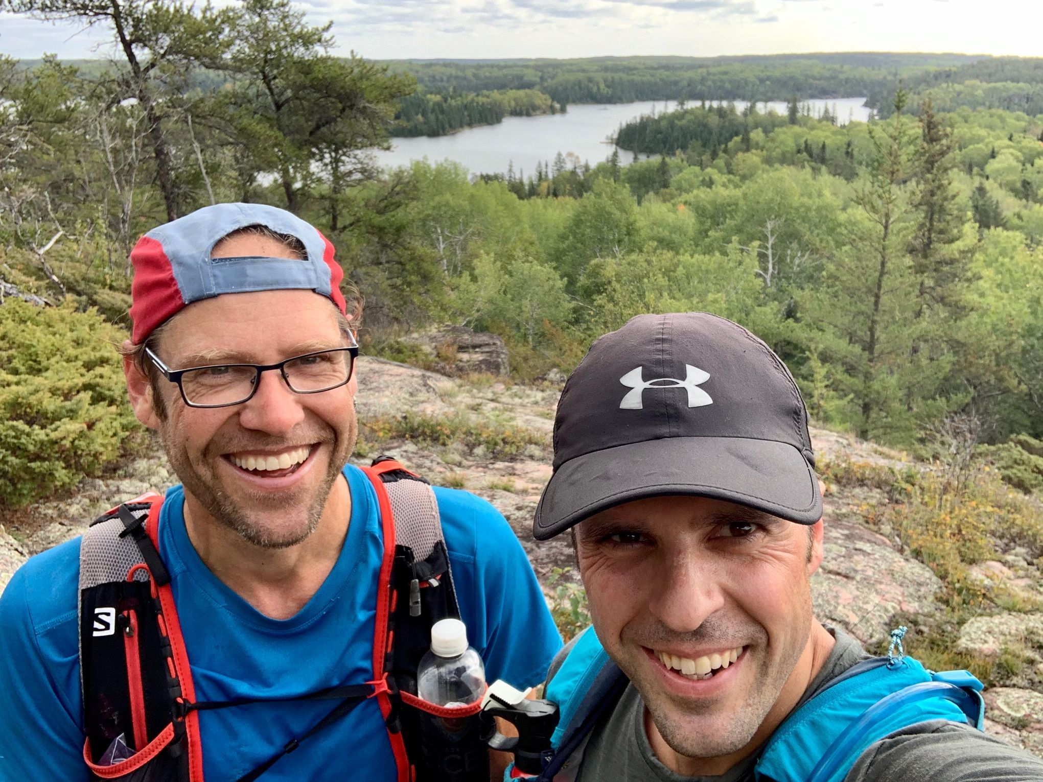 Gord Funk (left) and Justin Feilberg, traversing the Mantario Trail in Whiteshell Provincial Park.
