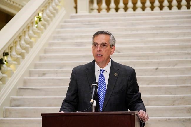 Georgia Secretary of State Brad Raffensperger speaks during a news conference on Friday, Nov. 20, 2020, in Atlanta. Georgia's top elections official said he will certify that Joe Biden won the state's presidential election after a hand tally stemming from a mandatory audit affirmed the Democrat's lead over Republican President Donald Trump. Raffensperger said during the news conference Friday that he believes the numbers his office has presented are correct.(AP Photo/Brynn Anderson)