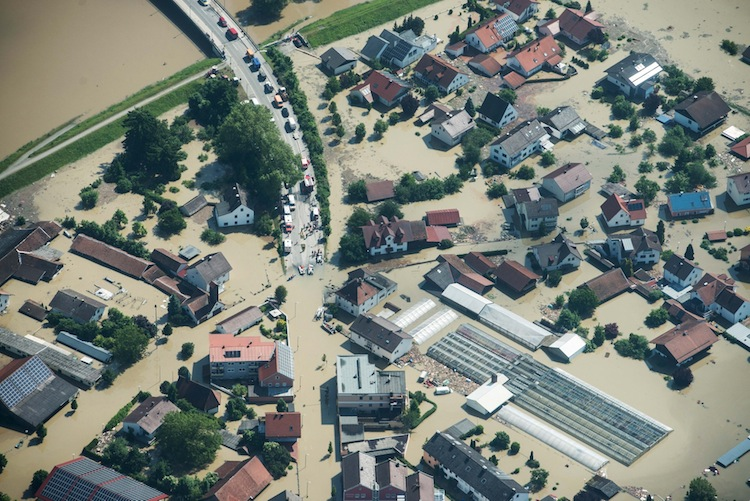 This aerial shot shows the town of Deggendorf in southern Germany, which was flooded by the Danube river due to a broken dam.