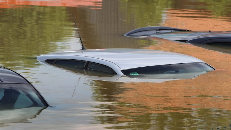 Roofs of cars are seen in the flooded town of Deggendorf in southern Germany.