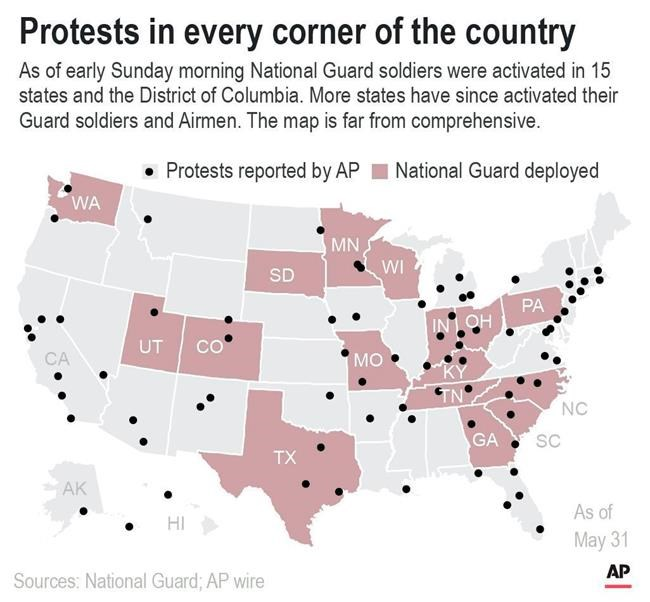 National map shows locations of protests across the country.;