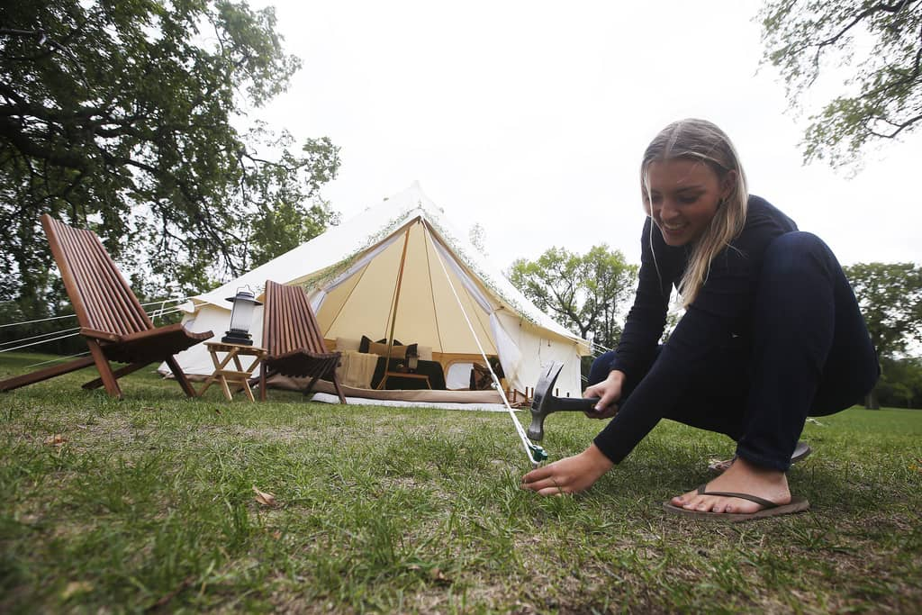 Sarah Scot and her team will come and set up prospector-style canvas tents in client's yards.