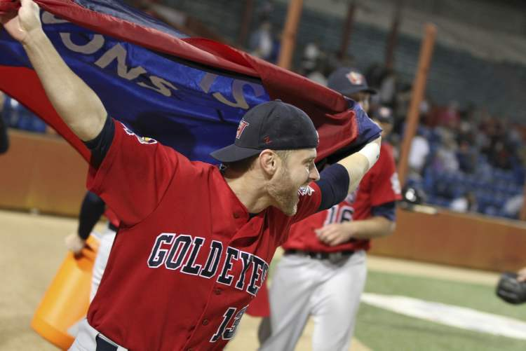 Winnipeg Goldeyes Josh Mazzola celebrates their win against the Wichita Wingnuts Friday night.