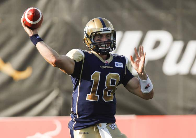 Winnipeg Blue Bombers quarterback Justin Goltz throws a pass during first-quarter CFL pre-season action against the Hamilton Tiger-Cats in Guelph, Ont., Thursday.