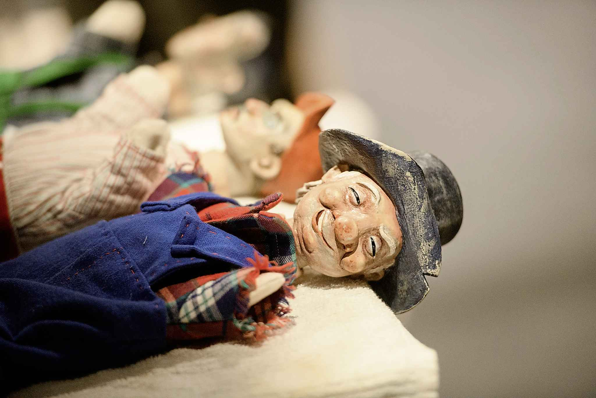 Moonshine Mullins puppet lays next to other puppets on set of The Golem's Mighty Swing Thursday afternoon at the Winnipeg Jewish Theatre. (Mike Sudoma / Winnipeg Free Press)