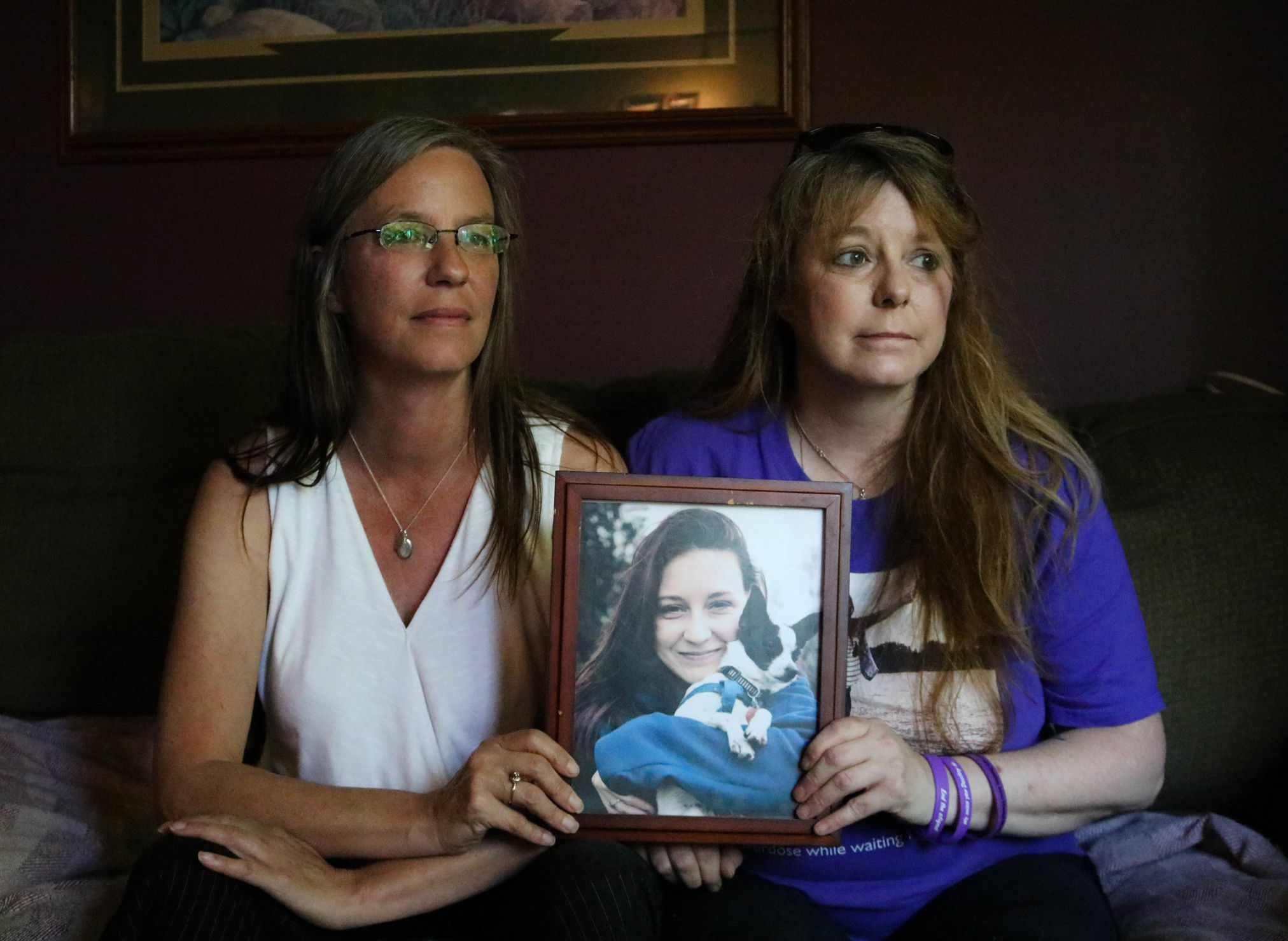 Tammy and Shelly Taillieu with a portrait of Destiny, who died at 22 of an accidental overdose.