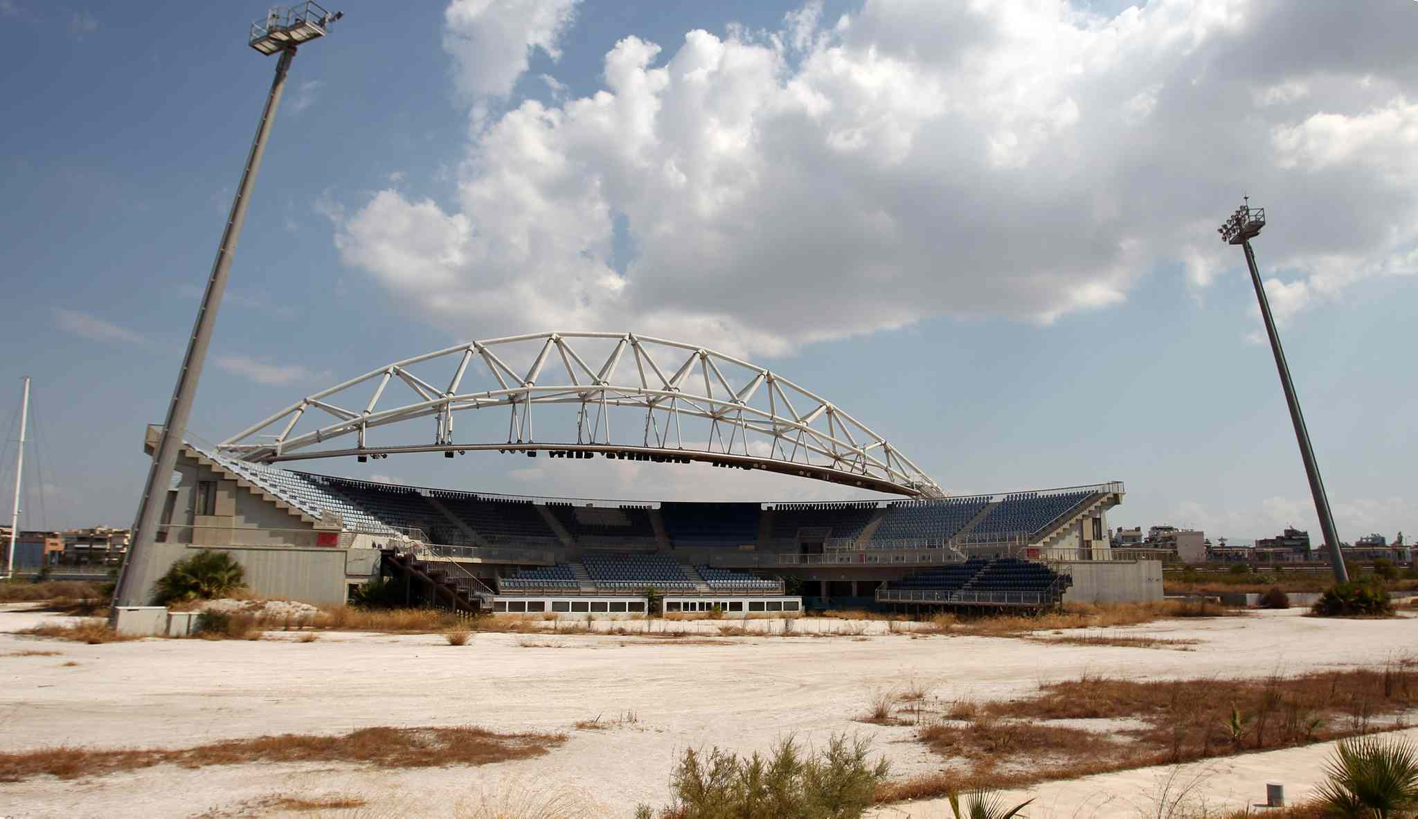 The Olympic beach volleyball lies abandoned in southern Athens. The legacy of Athens Olympics has stirred vigorous debate, and Greek authorities have been widely criticized for not having a post-Games plan for the infrastructure.