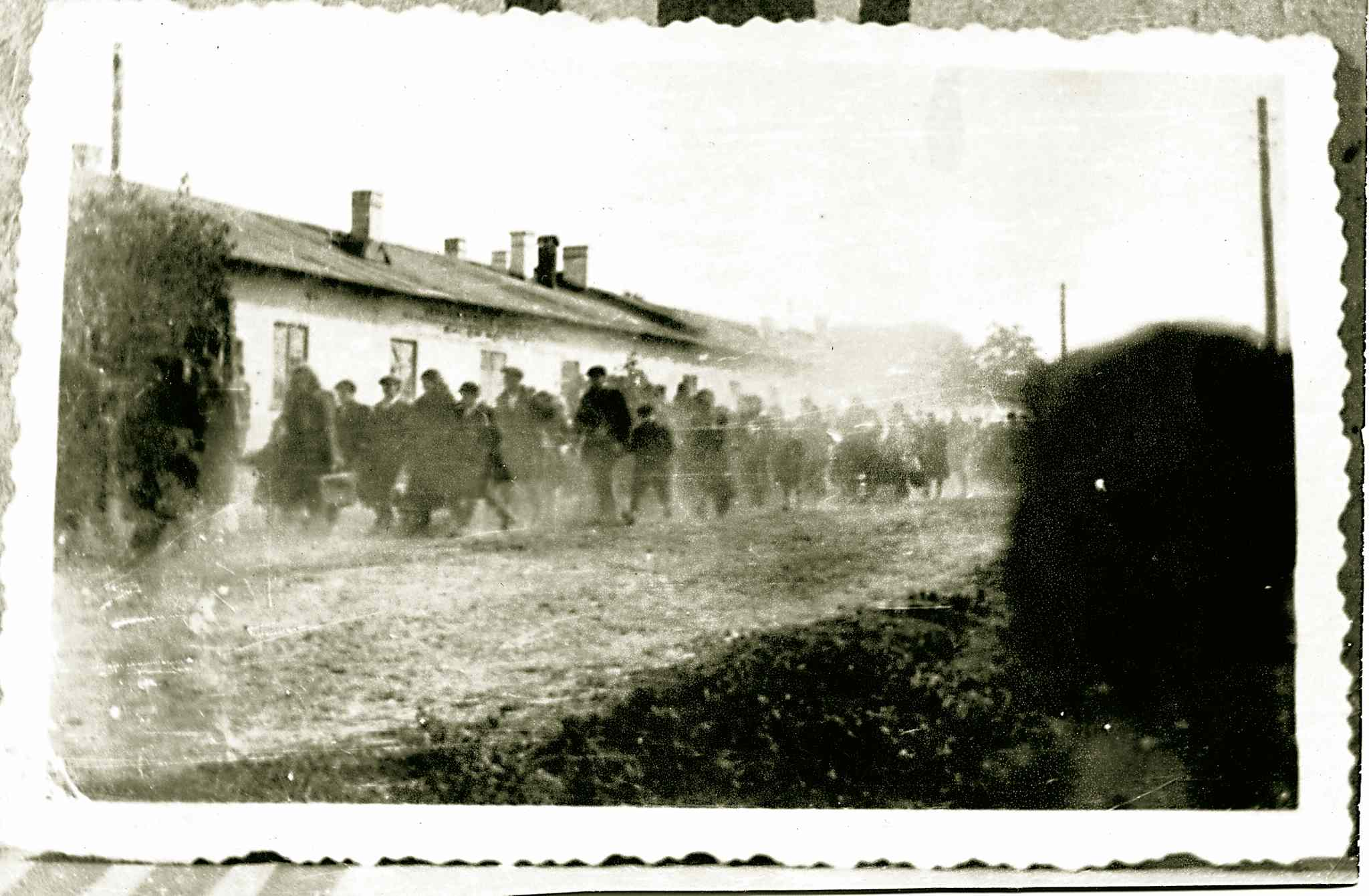 Jews of Pinczow, Poland, were rounded up and marched to the transports in Jedrzejow to be taken to the Treblinka death camp.