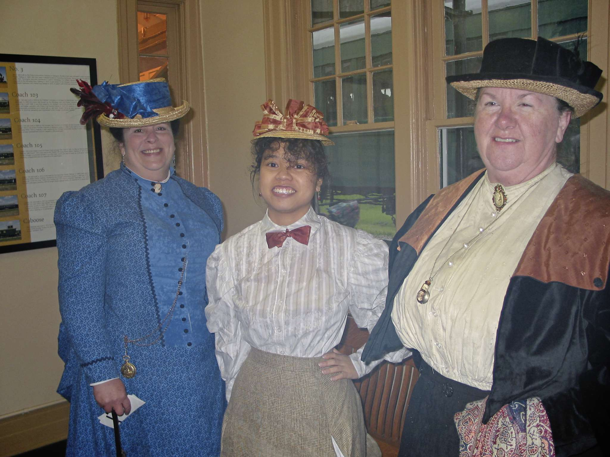 (From left) Dawn Neufeld, Sabrina Mark and Arlene Cross, members of the Victorian at Heart group of Winnipeg, were dressed appropriately for a train journey on the Prairie Dog Central Railway on June 12.