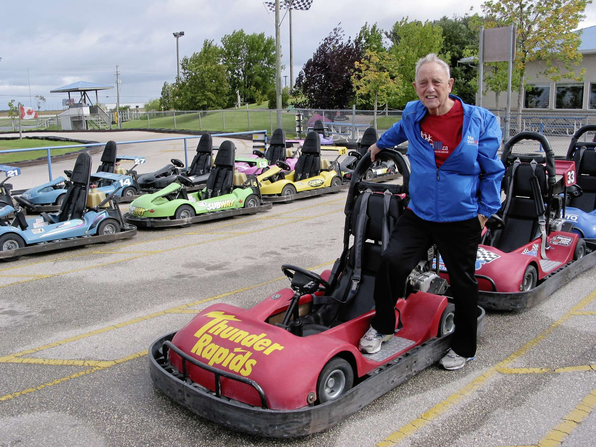 Vern Barrett, with the Winnipeg chapter of the Huntington Society of Canada, is shown with the go-karts at Thunder Rapids in Headingley. Teams of drivers will steer the karts around the track at 5058 Portage Ave. on Sun., Sept. 8 to fundraise in the 24th annual Huntington's Indy Go-Kart Challenge.