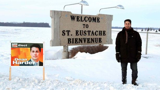 NDP candidate Dean Harder is braving cold and snowy winter weather to travel throughout the Morris constituency to post campaign signs and knock on doors before the Jan. 28 byelection.
