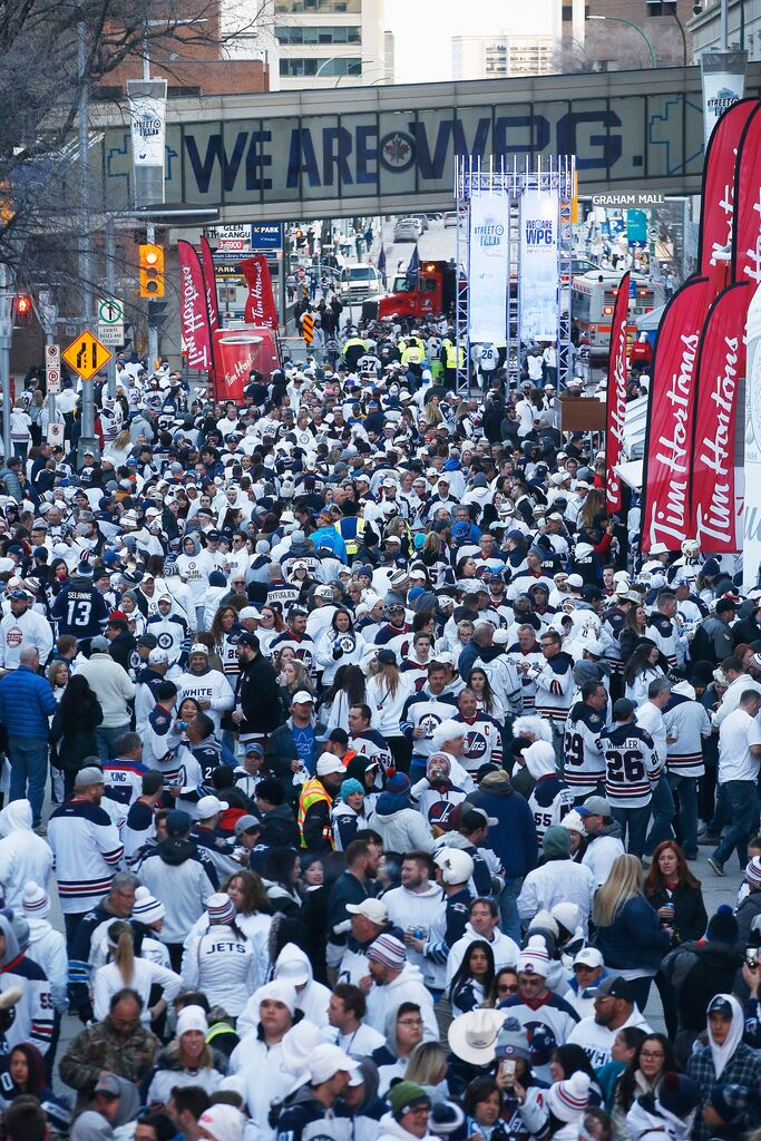 Don't expect the Whiteout street parties to return this year no matter how far the Jets make it in the playoffs. (John Woods / The Canadian Press files)