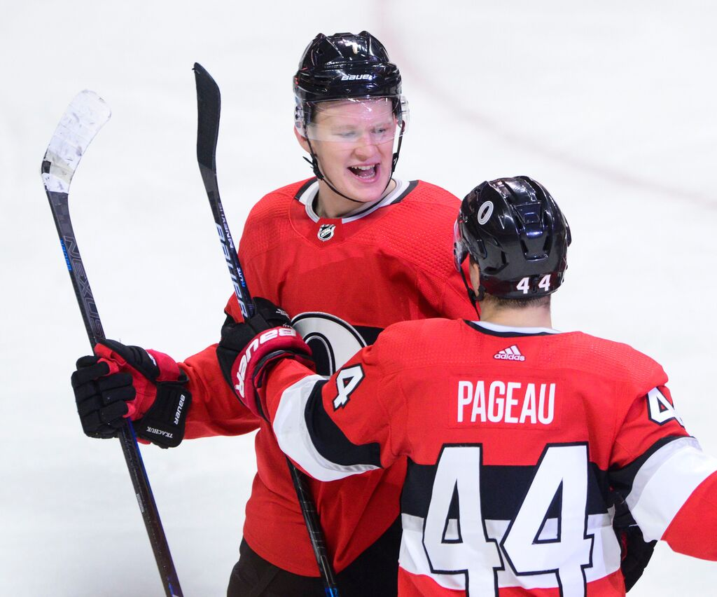 Brady Tkachuk (left) is expected to carry a lot of weight for the Ottawa Senators this season. (Sean Kilpatrick / The Canadian Press files)
