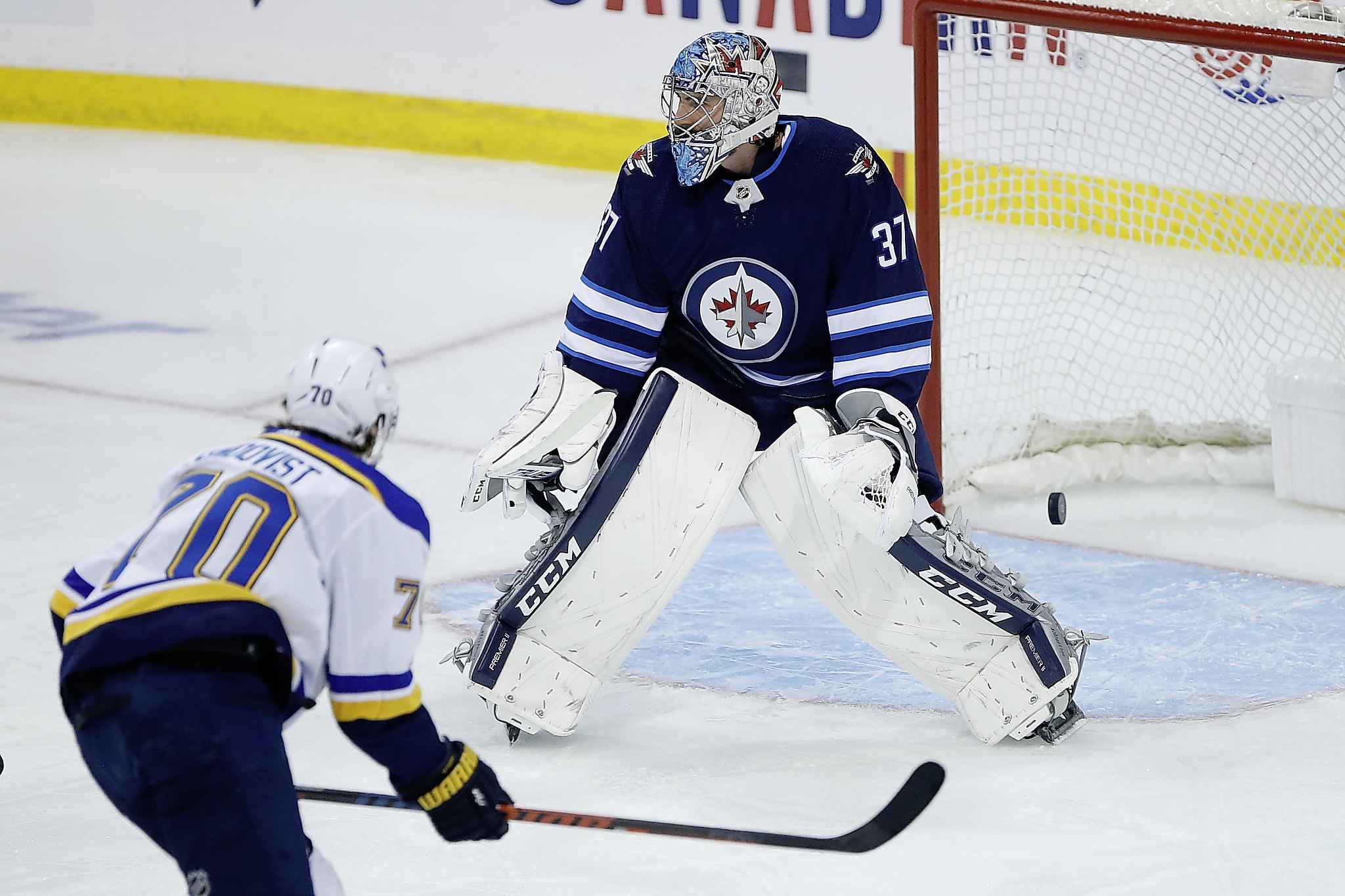 St. Louis Blues' Oskar Sundqvist scores on Winnipeg Jets goaltender Connor Hellebuyck  during first period NHL playoff action in Winnipeg on Friday. Lots of commenters have criticized Hellebuyck's performance, but don't try telling Hellebuyck that. JOHN WOODS / THE CANADIAN PRESS